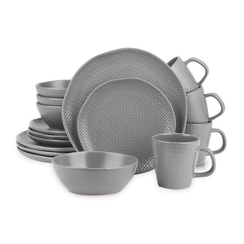 Stone Lain Abigail Stoneware Round Weave Dinnerware Set
