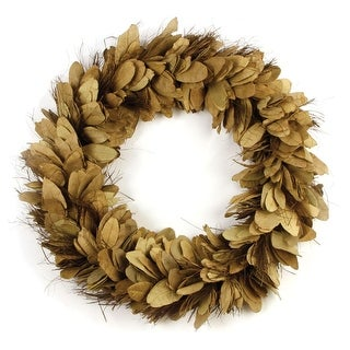 24 Tan and Chestnut Brown Leaves and Thatch Decorative Indoor Wreath