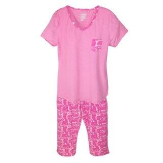 Hanes Women's Cap Sleeve Tee and Capri Pant Pajama Set