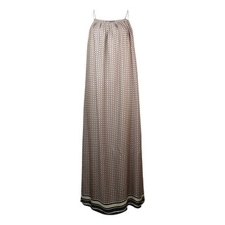 Vince. Women's Geo-Print Striped Hem Maxi Silk Dress - s