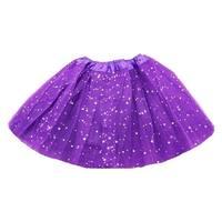 Little Girls Purple Sequin Satin Elastic Waist Ballet Tutu Skirt 2-8Y