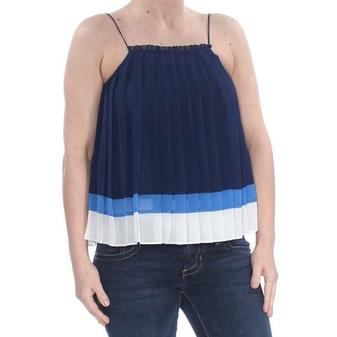 JOIE Womens Navy Color Block Pleated Tank Wear To Work Top Size: 2XS