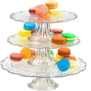 Palais Glassware Elegent 3 in 1 Cupcake or Cake Stand - Mix and Match Use As a One Tier, Two Tier or Three Tier.
