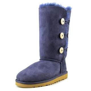 Ugg Australia Bailey Button Triplet Youth Round Toe Suede Blue Winter Boot