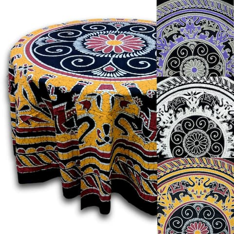 Elephant Batik Cotton Tablecloth Round 90 inches Gold Wine Red Purple Gray Black