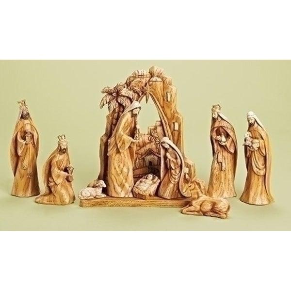 10-Piece Carved Inspirational Religious Nativity Scene Christmas Decoration