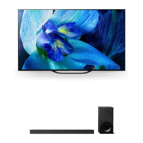 """Sony XBR-55A8G 55"""" BRAVIA OLED 4K HDR TV and HT-X9000F 2.1-Channel Dolby Atmos Sound Bar with Subwoofer"""