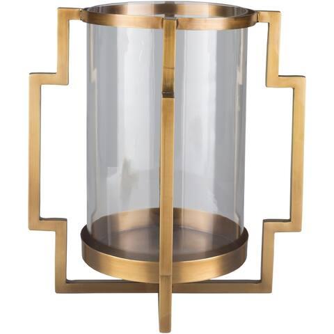"Luitgard Gold Glass Modern 15.75"" Candle Holder"