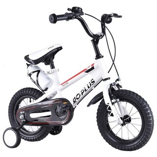 Goplus 12'' Freestyle Kids Bike Bicycle Children Boys & Girls w Training Wheels White