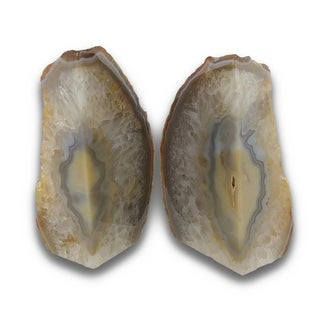Clear Crystal Banded Brazilian Agate Geode Bookends 4-7 Pounds