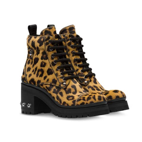 Miu Miu Women's Leather Calf Hair Nevermind Crystal Embellished Boots Leopard Brown