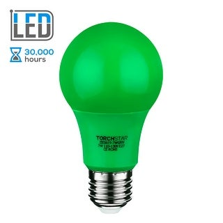 TORCHSTAR 7W Green LED A19 Colored Light Bulb, E26/E27 Base, for Independence Day, Veterans Day, Christmas, Holiday, 30,000hrs