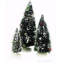 Miniature Christmas Tree Flocked Set of 3 With Ball Ornaments - green