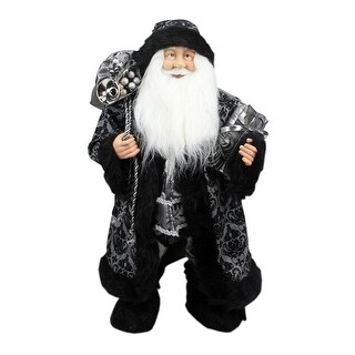 """24"""" Standing Santa Claus in Silver and Black with Gifts Christmas Figure"""