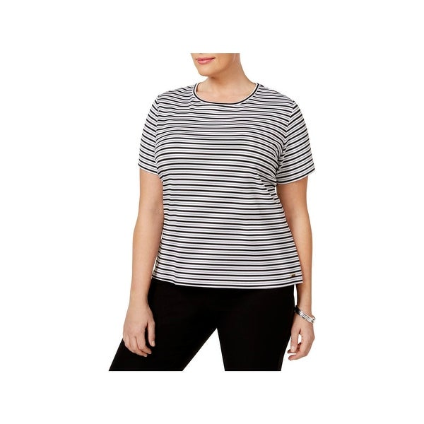 933ce2539ccf Shop Calvin Klein Womens Plus T-Shirt Striped Textured - Free Shipping On  Orders Over $45 - Overstock - 22581899