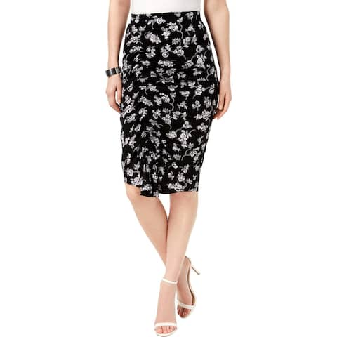 Vince Camuto Womens Pencil Skirt Floral Ruched