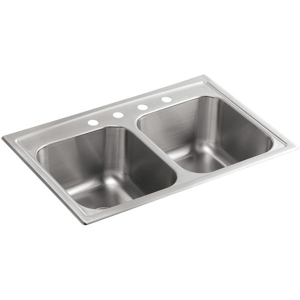 "Kohler K-3847-4 Toccata 33"" Double Basin Top-Mount 18-Gauge Stainless Steel Kitchen Sink with SilentShield - Stainless Steel"