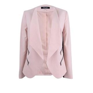 Nine West Women's Zip-Pocket Open-Front Blazer - shell/black