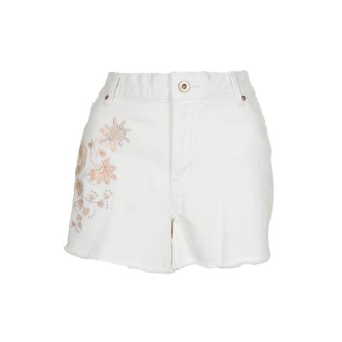 Jessica Simpson Juniors White Cherish Embroidered Shorts 33
