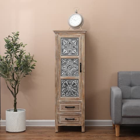 """Metal and Wood Tall Tower Cabinet - 48"""" H x 15.8"""" W x 15"""" D"""