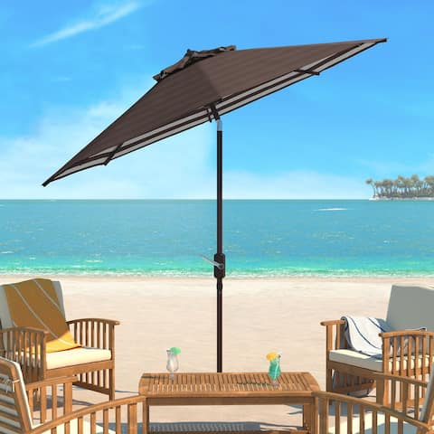 SAFAVIEH Athens Inside Out Striped 9 Ft Crank Brown/ White Outdoor Umbrella