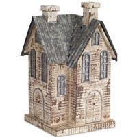 Pack of 2 Decorative Poly-resin and Metal 3D House Figure