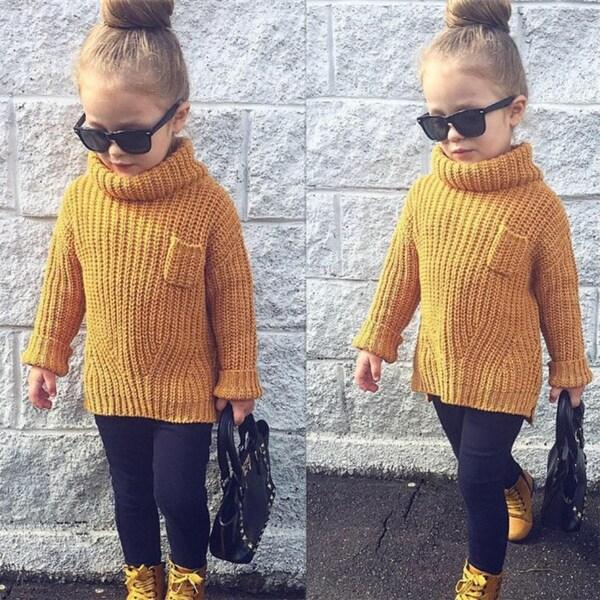 c2b6a4bb723e Shop Baby Girl Boy Clothes High Neck Warm Sweater Children Toddler ...