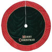 "48"" Red and Green ""Merry Christmas"" Glitter Plaid Christmas Tree Skirt"