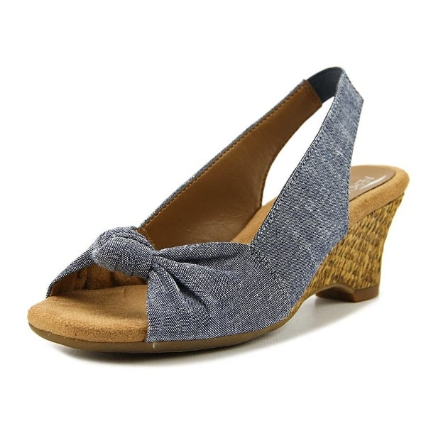 Aerosoles Zen Garden Women W Open-Toe Canvas Blue Slingback Sandal
