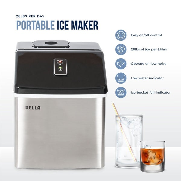 Della Electric Ice Maker Machine Portable Counter Top Yield Up To 28 Pounds of Ice Daily -Stainless Steel