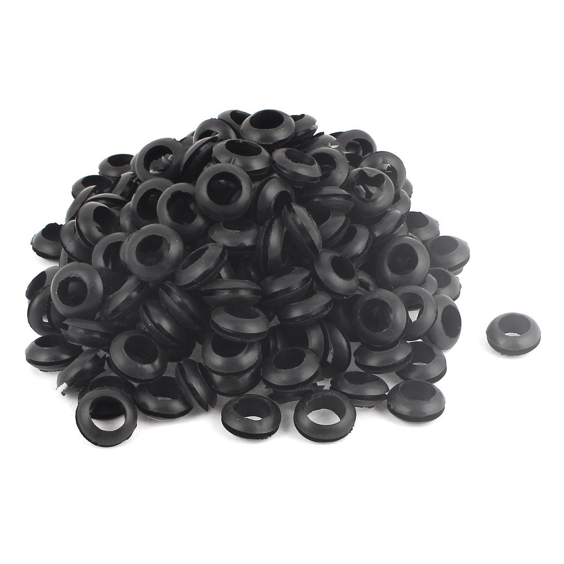 BLACK 10mm Hole Rubber Grommet Double Sided Open Gasket Wiring Cable Cord Ring