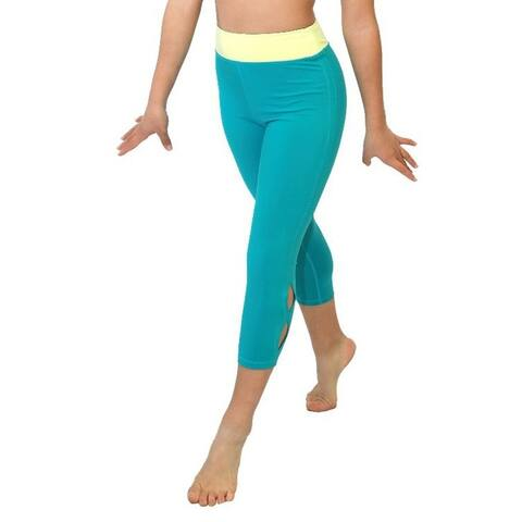Veva by Very Vary Women Turquoise Lemon Capri Leggings