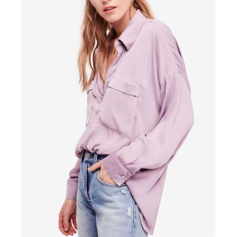 Free People Purple Womens Size Large L Split Neck Tunic Blouse