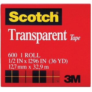 Scotch 600 Transparent Tape, 0.50 x 1296 Inches, Glossy