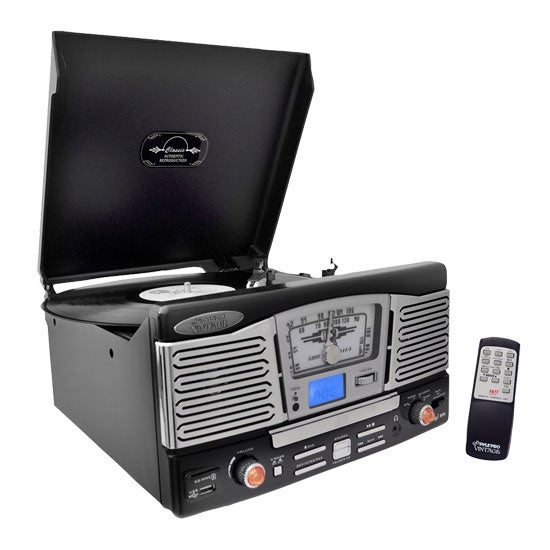 Retro Style Turntable Plays AM/FM Radio, MP3/WMA via USB/SD Card Readers, and Vinyl-to-MP3 Encoding Function (Black)
