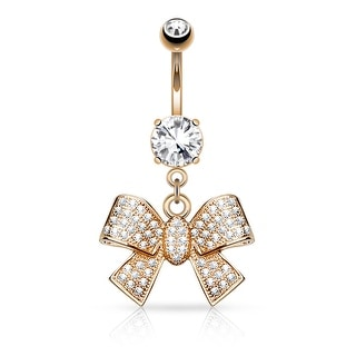 Micro Pave CZ Ribbon Dangle Surgical Steel Belly Button Navel Ring - 14GA (Sold Ind.)