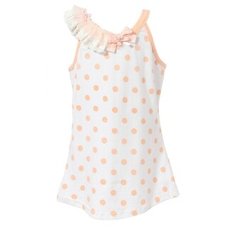 Richie House Little Girls Peach Polka Dotted Lace Shoulder Top 2-6