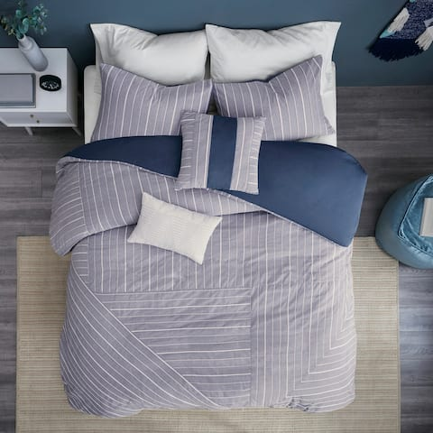 Strick & Bolton Brandell Chambray Cotton Blend 5-piece Duvet Cover Set