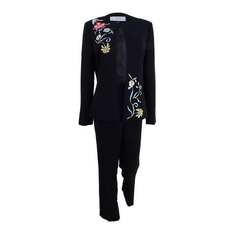 Tahari ASL Women's Petite Embroidered Pantsuit (0P, Black) - Black - 0P