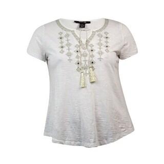 Style & Co Women's Peasant Embellished Short Sleeve Blouse
