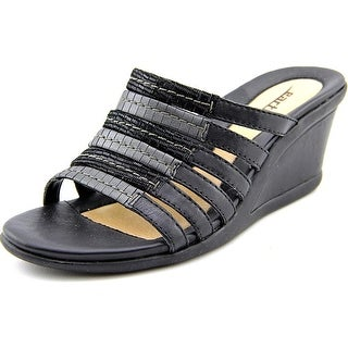 Earth Gardenia Women  Open Toe Leather Black Wedge Sandal
