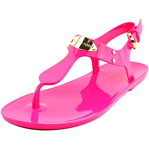Michael Michael Kors Logo Plate Jelly Open Toe Synthetic Thong Sandal