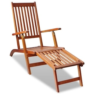 """vidaXL Outdoor Deck Chair with Footrest Solid Acacia Wood - 66"""" x 22"""" x 30"""""""