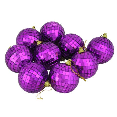 "9ct Purple Mirrored Shatterproof Christmas Ball Ornaments 2.5"" (60mm)"