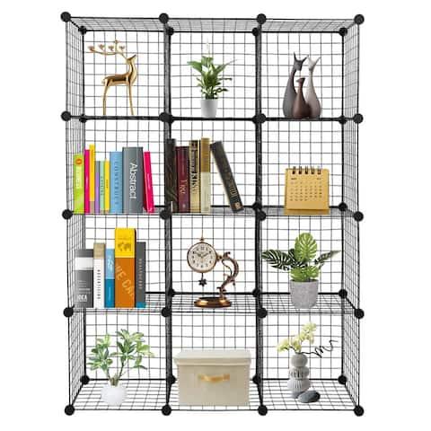 12-Cube Wire Shelf Storage Metal Shelves Modular Metal shelve