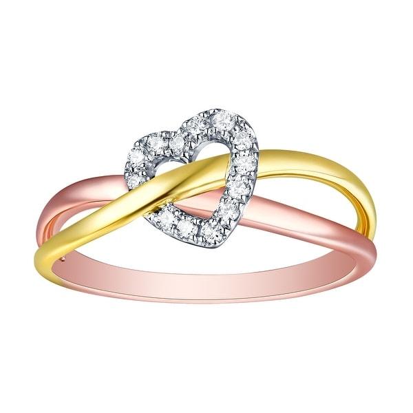 Prism Jewel 0.08ct Round Natural G-H/SI1 Diamond Tri-Color Gold Valentine Ring - White G-H