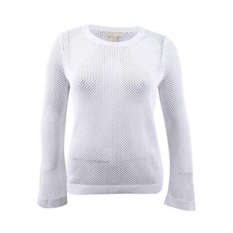 MICHAEL Michael Kors Women's Cotton Semi-Sheer Sweater - White