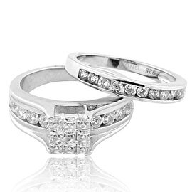 2ctw Bridal Wedding Set Engagement Ring and Matching Wedding Band 9mm Wide