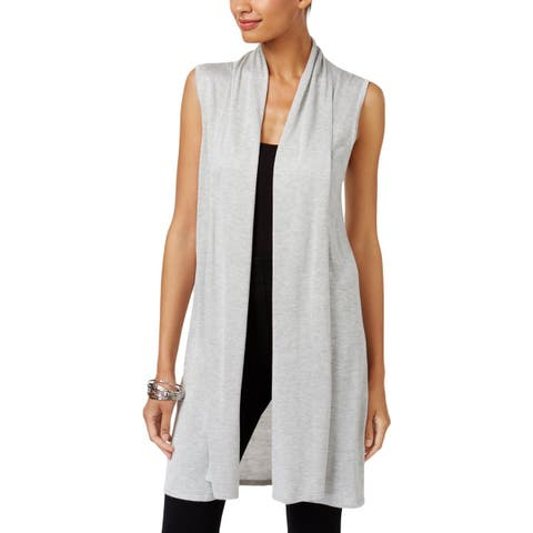 Joseph A Womens Duster Sweater Ribbed Trim Sleeveless