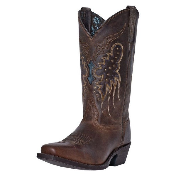 Laredo Western Boots Womens Cora Snip Toe Leather Brown Blue